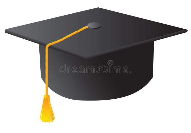 étudiant noir de chapeau de graduation illustration de vecteur