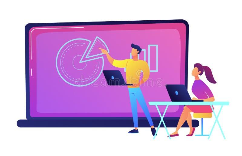 Étudiant s'asseyant devant le grand ordinateur portable et écoutant l'illustration de vecteur de lecteur illustration de vecteur