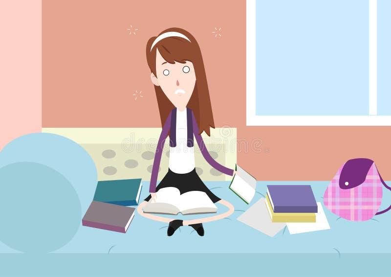 Étudiant soumis à une contrainte étudiant à la maison l'illustration de personnage de dessin animé illustration libre de droits