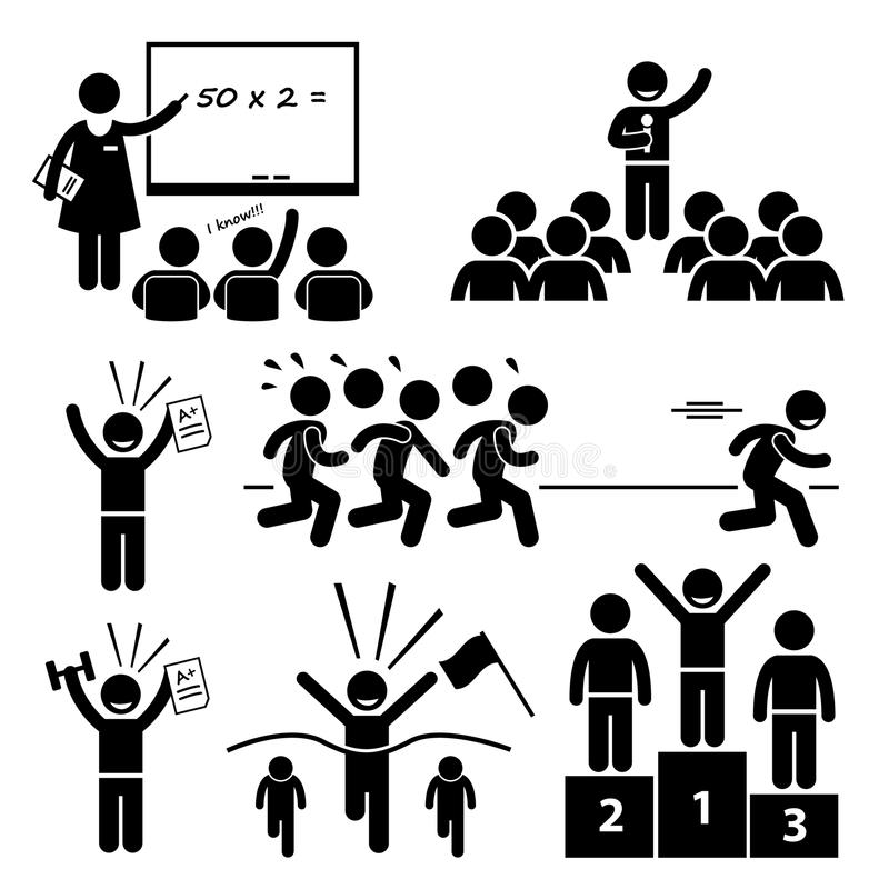 Étudiant supérieur d'école aux icônes spéciales exceptionnelles d'enfant mieux illustration libre de droits