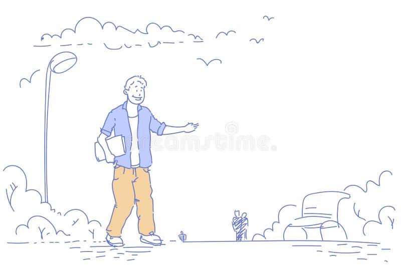 Étudiant tenant le dossier tenant le réverbère urbain de banc en bois de parc de ville dirigeant la main quelque chose bande dess illustration de vecteur