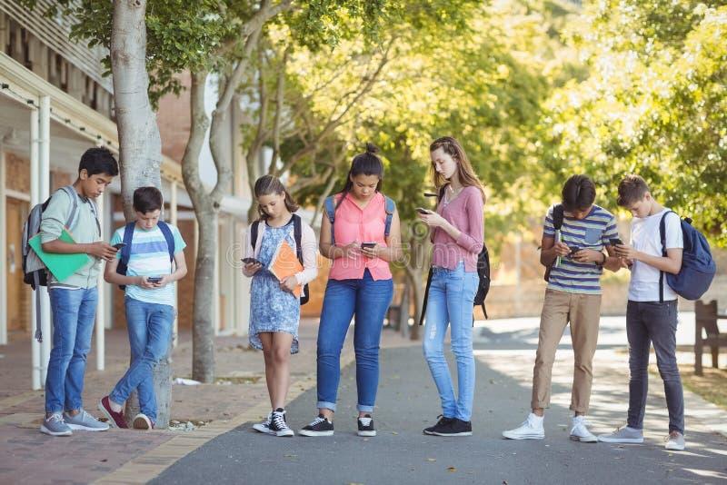 Étudiants à l'aide du téléphone portable sur la route dans le campus images stock