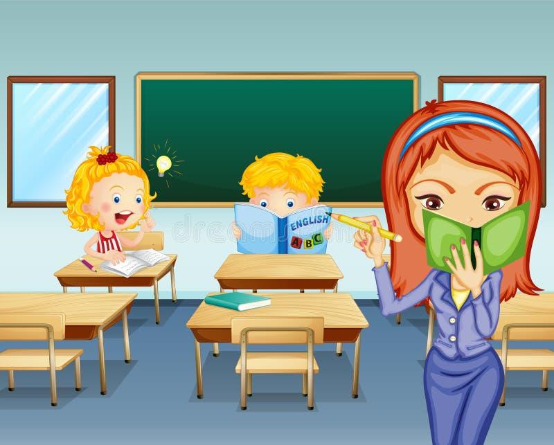 Étudiants étudiant à l'intérieur de la salle de classe illustration stock
