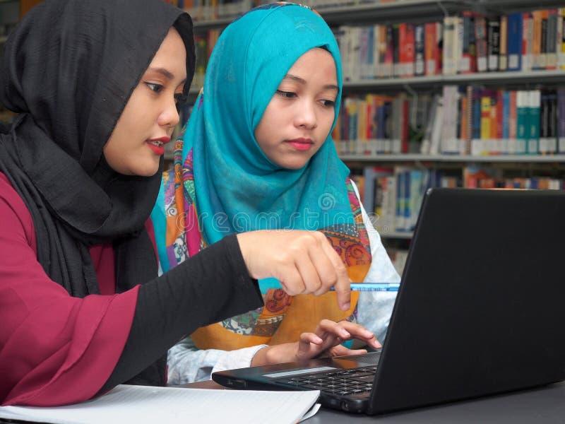 Étudiants étudiant dans une bibliothèque photographie stock libre de droits