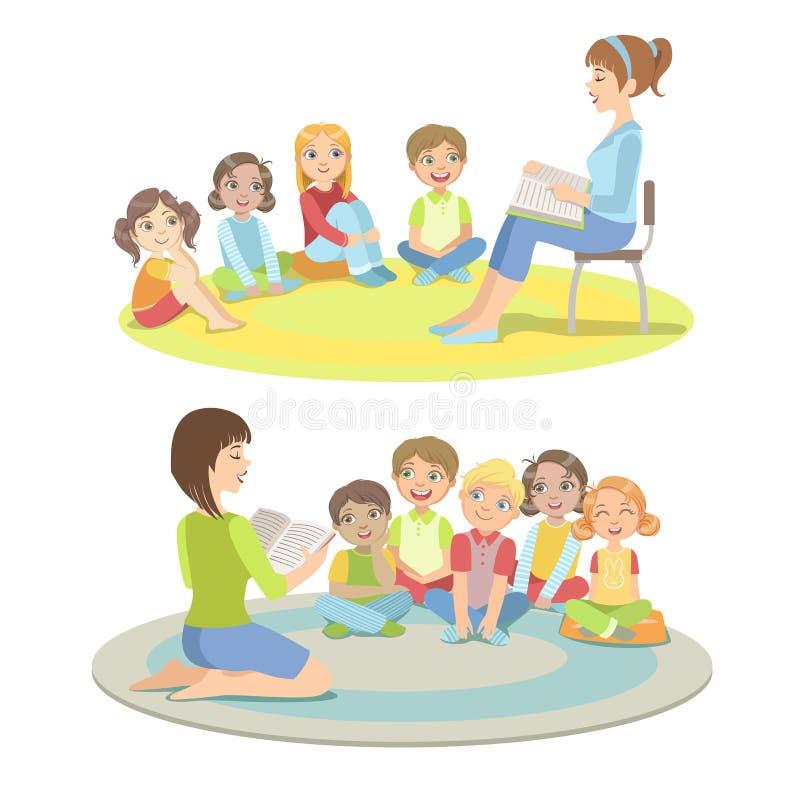 Étudiants d'école primaire écoutant l'histoire illustration de vecteur