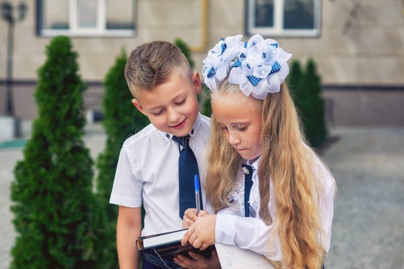 Étudiants d'école primaire au renfoncement faisant des devoirs images stock