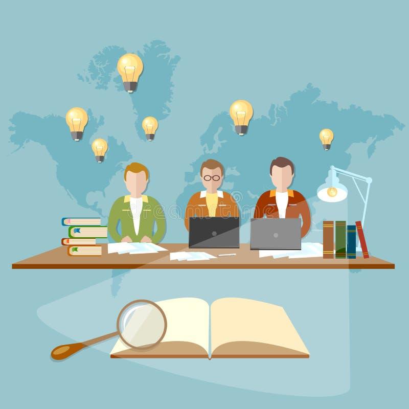 Étudiants d'éducation dans la bibliothèque de l'université et de l'université illustration de vecteur