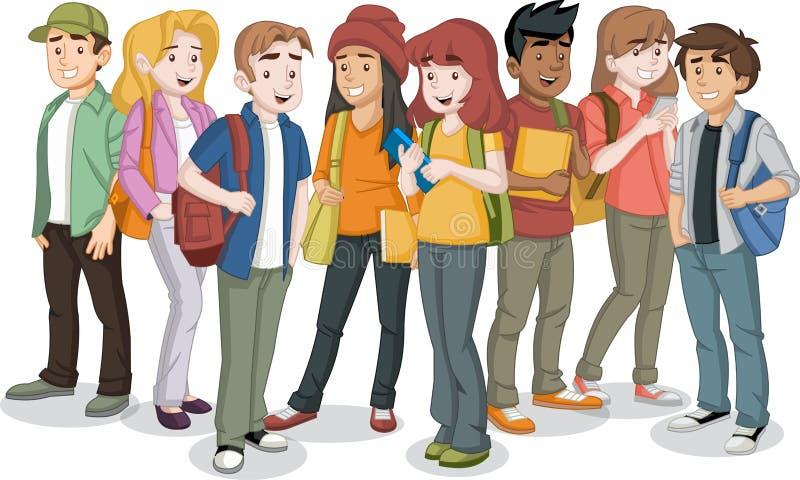 Étudiants De Dessin Animé D'adolescent Au-dessus De Globe De La Terre  Illustration de Vecteur - Illustration du animé, adolescent: 27711631