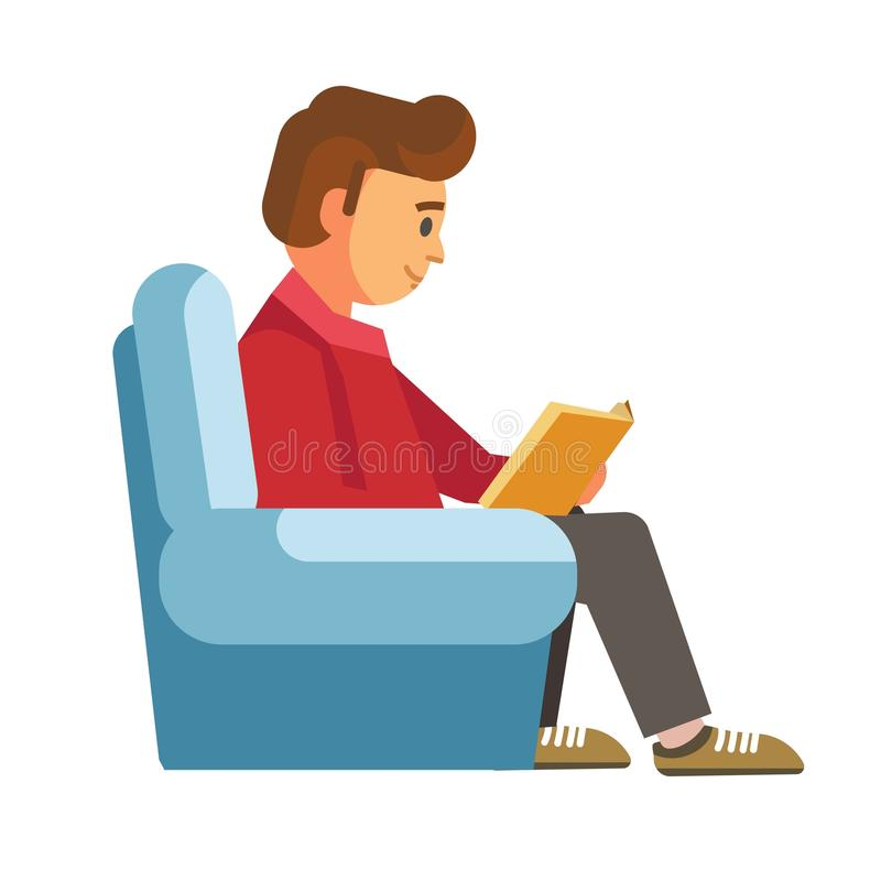 Étudiants d'enfants dans des livres de lecture de bibliothèque ou de librairie illustration de vecteur