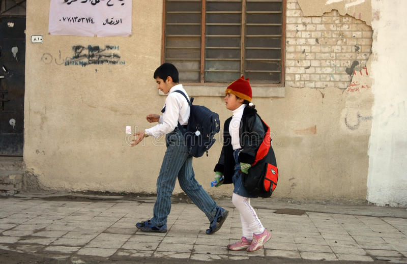Étudiants dans Kirkuk image stock