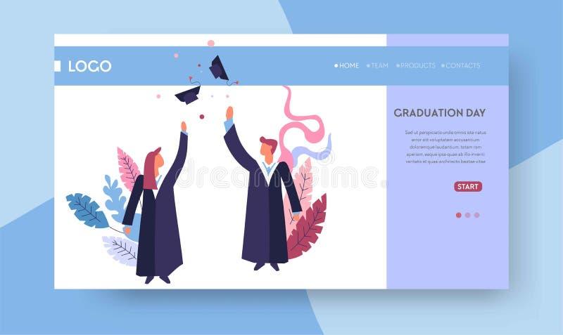?tudiants de calibre de page Web de jour dans les chapeaux et les manteaux scolaires illustration stock