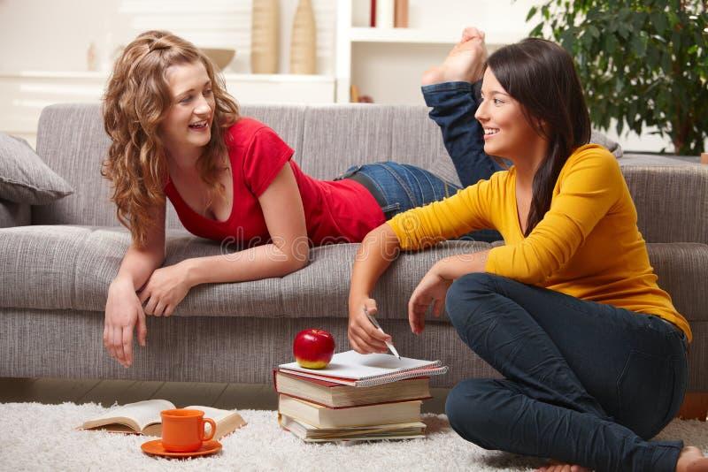 Étudiants de Highscool apprenant à la maison photos stock