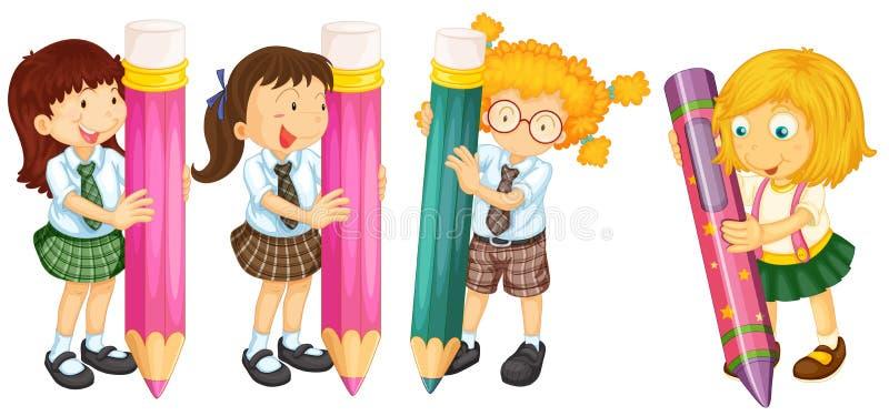 Étudiants et crayons illustration libre de droits