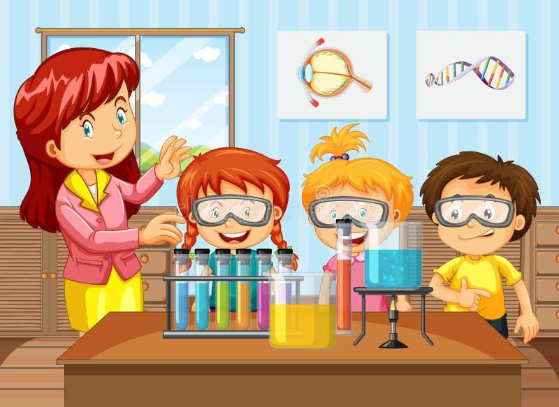 Étudiants et professeur dans la classe de chimie illustration stock