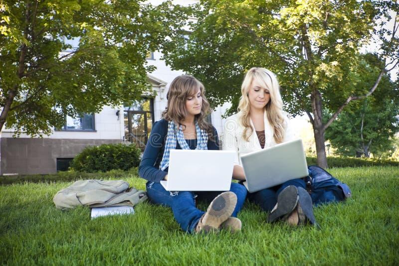 Étudiants féminins étudiant sur des ordinateurs portables images libres de droits