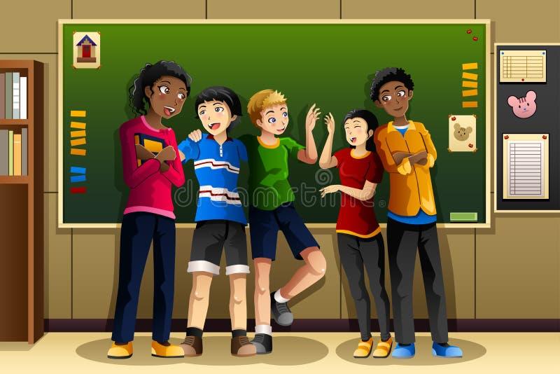 Étudiants multi-ethniques dans la salle de classe illustration stock