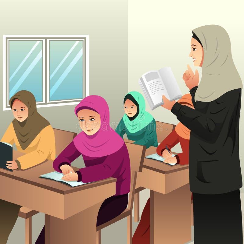 Étudiants musulmans dans une salle de classe avec son professeur illustration libre de droits