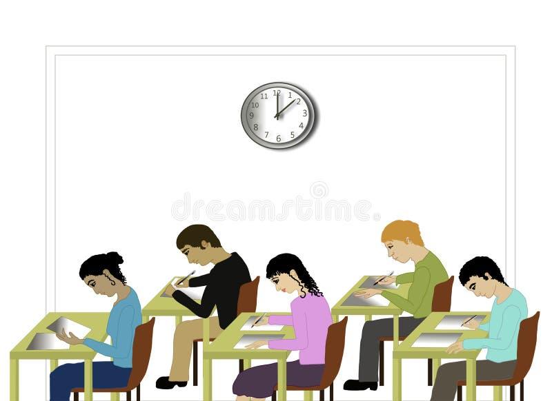 Étudiants prenant un examen illustration stock