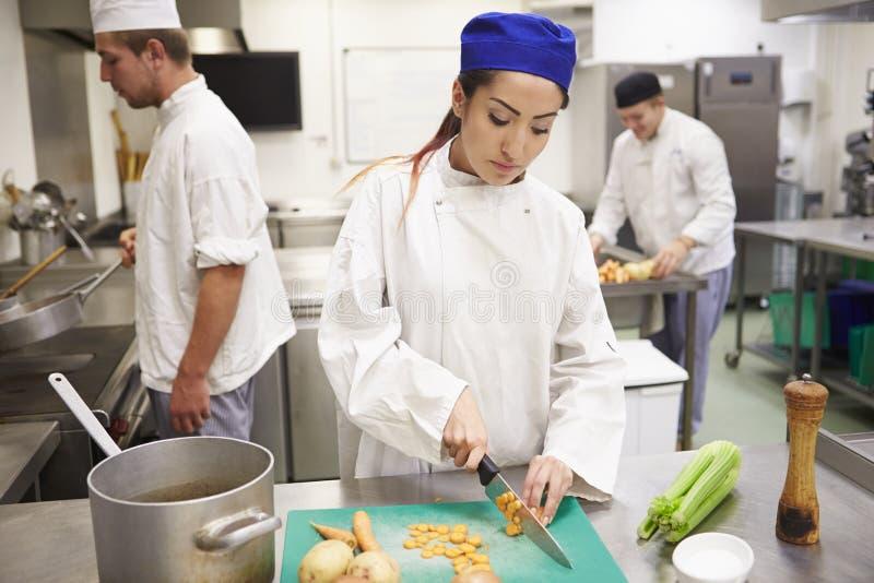 Étudiants s'exerçant pour travailler dans l'industrie de la restauration photo stock