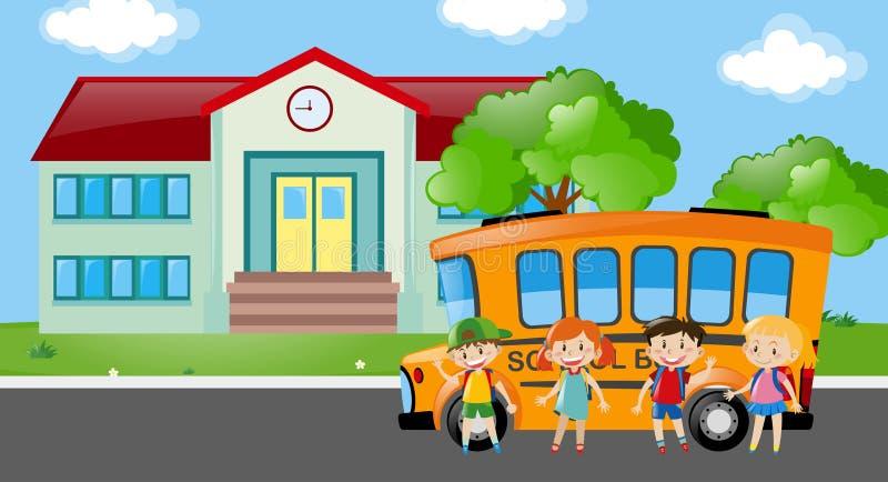 Étudiants se tenant prêt l'autobus scolaire illustration de vecteur