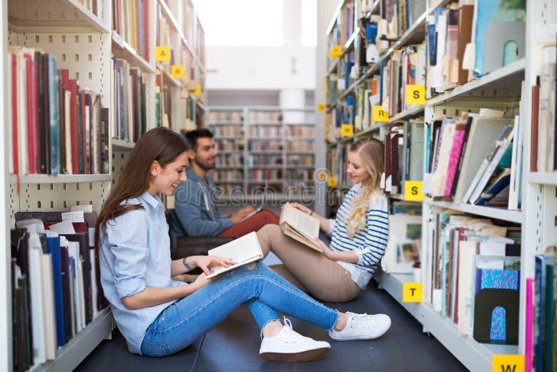 Étudiants travaillant dans la bibliothèque au campus photographie stock libre de droits