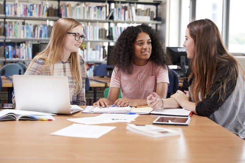 Étudiants universitaires féminins travaillant dans la bibliothèque ensemble images stock