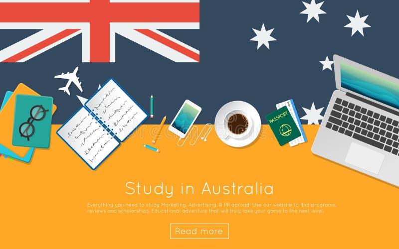 Étudiez dans le concept d'Australie pour votre bannière de Web ou illustration de vecteur