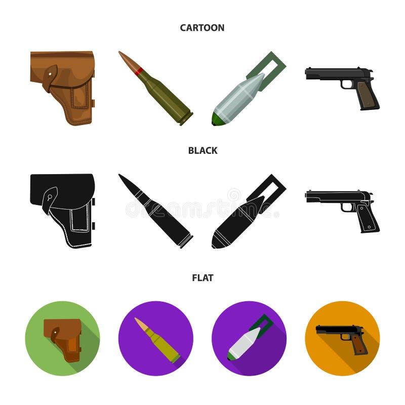 Étui, cartouche, bombe d'air, pistolet Icônes réglées de militaires et de collection d'armée dans la bande dessinée, noir, symbol illustration stock
