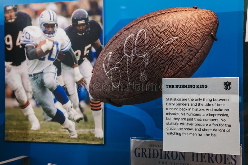 Évènements mémorables de NFL sur l'affichage dans l'expérience de NFL du Times Square, Ne photographie stock libre de droits