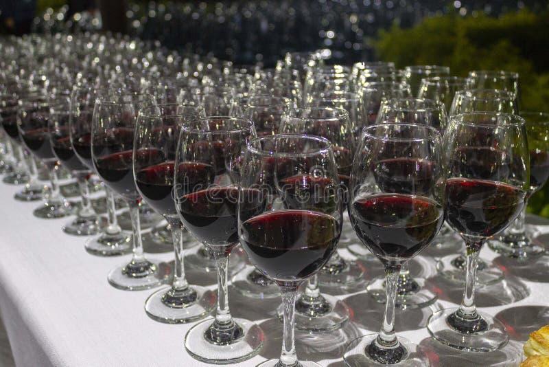 Événement d'échantillon de vin la nuit images libres de droits
