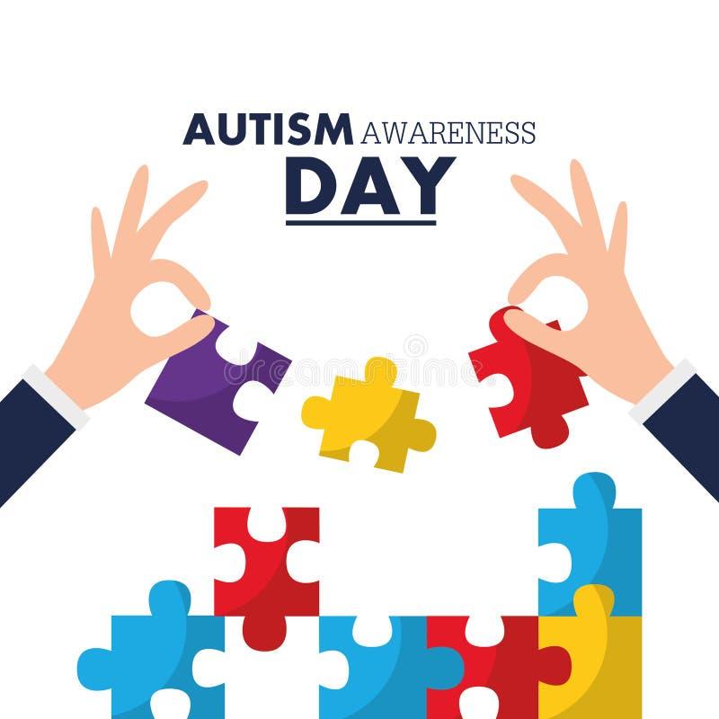 Événement de solidarité de carte de jour de conscience d'autisme illustration libre de droits