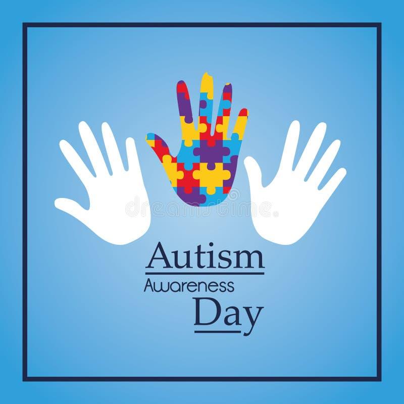 Événement de soutien de mains de jour de conscience d'autisme médical illustration stock