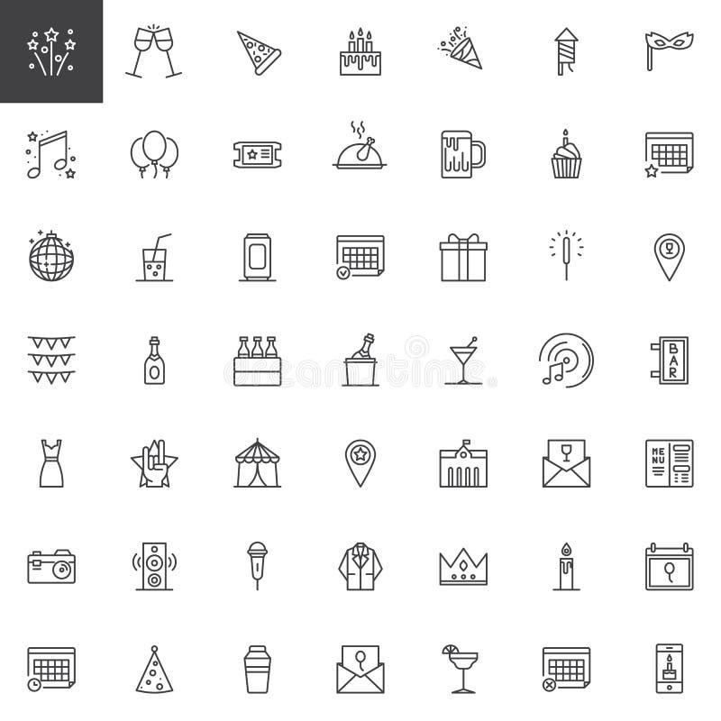 Événement, ligne icônes de célébration réglées illustration de vecteur