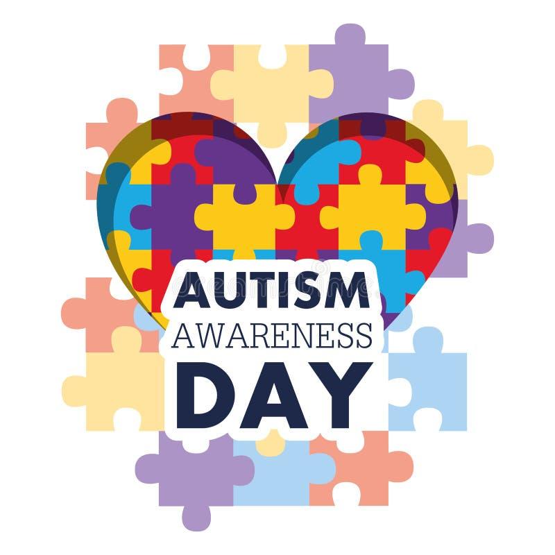 Événement médical de soins de santé de coeur de forme de puzzle de jour de conscience d'autisme illustration stock