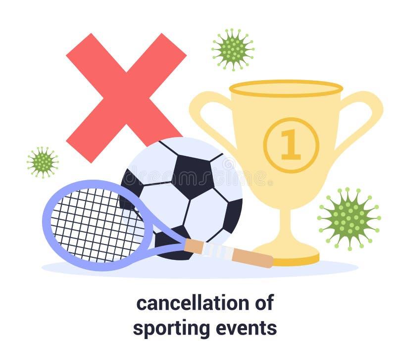 Événement sportif annulé en 2019-nCoV Annulation de la masse illustration de vecteur