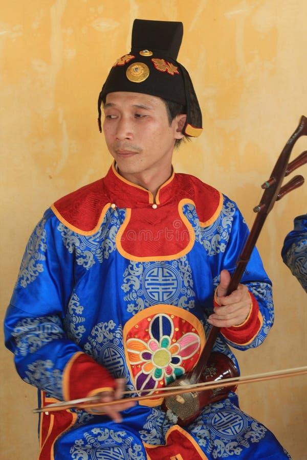 Événement traditionnel de représentation de musique du Vietnam en Hue images libres de droits