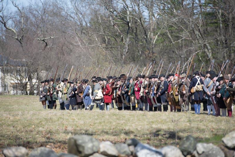 Événements historiques de reconstitution à Lexington, mA, Etats-Unis image libre de droits