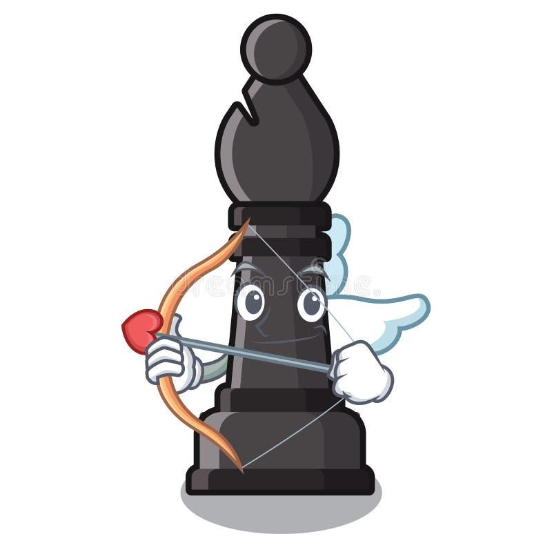 Évêque d'échecs de cupidon d'isolement avec la bande dessinée illustration stock