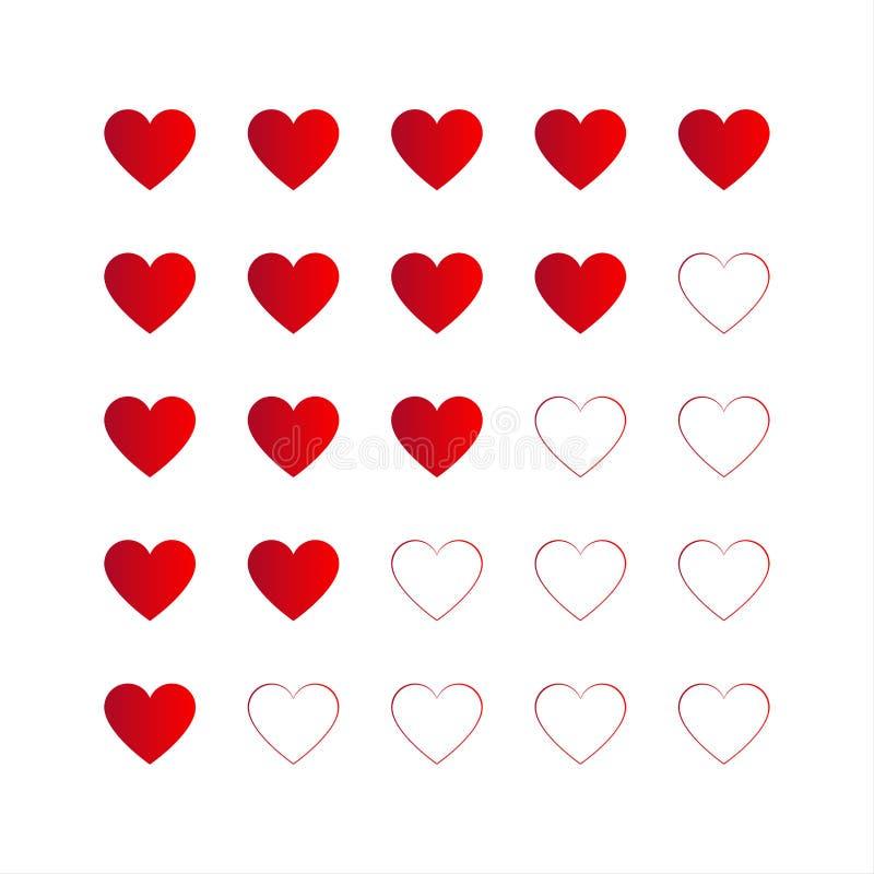 Évaluant avec les coeurs rouges, icône de vecteur pour votre infographic illustration stock