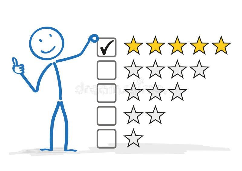 Évaluation d'étoiles de Stickman 5 illustration stock