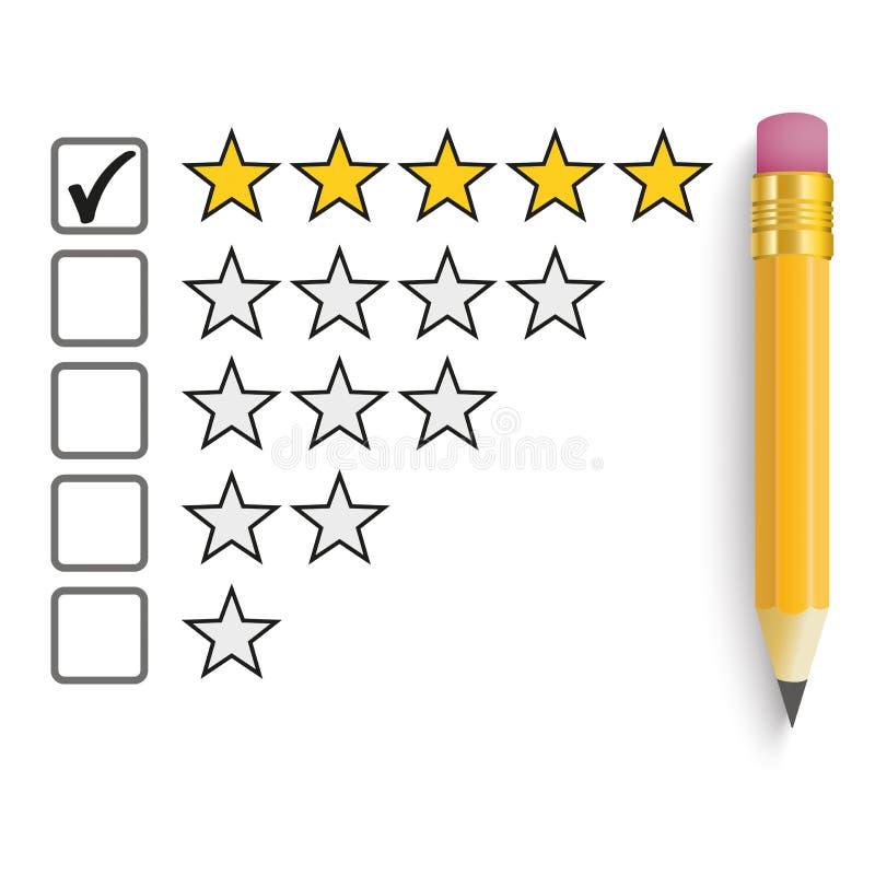 Évaluation d'étoiles du crayon 5 illustration stock