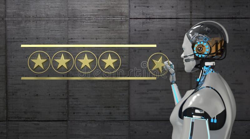 Évaluation d'étoiles du robot 5 illustration stock