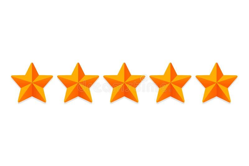 Évaluation de évaluation d'étoiles 5 Rate Review Ranking Les signes d'étoile de Web dirigent illustration libre de droits