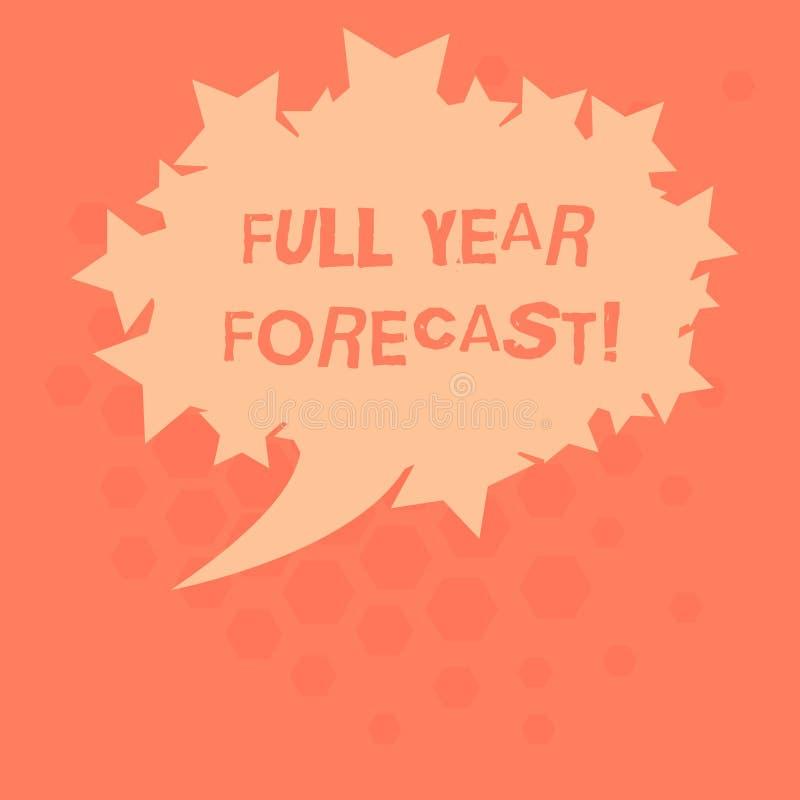 Évaluation de signification de concept de prévision d'année des textes d'écriture la pleine du perforanalysisce financier actuel  illustration stock