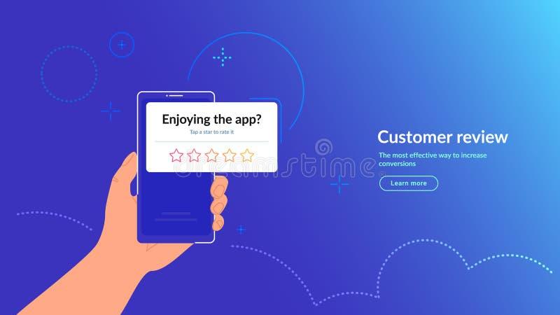 Évaluez notre application mobile Commentaires des clients et notation 5 étoiles pour l'application ou le service illustration libre de droits