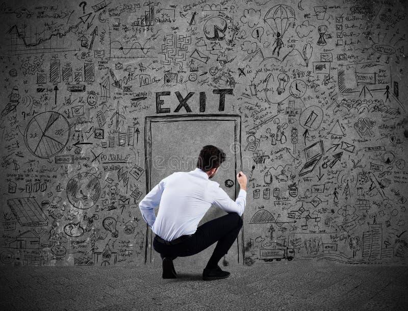 Évasion d'effort d'affaires et de crise financière photographie stock