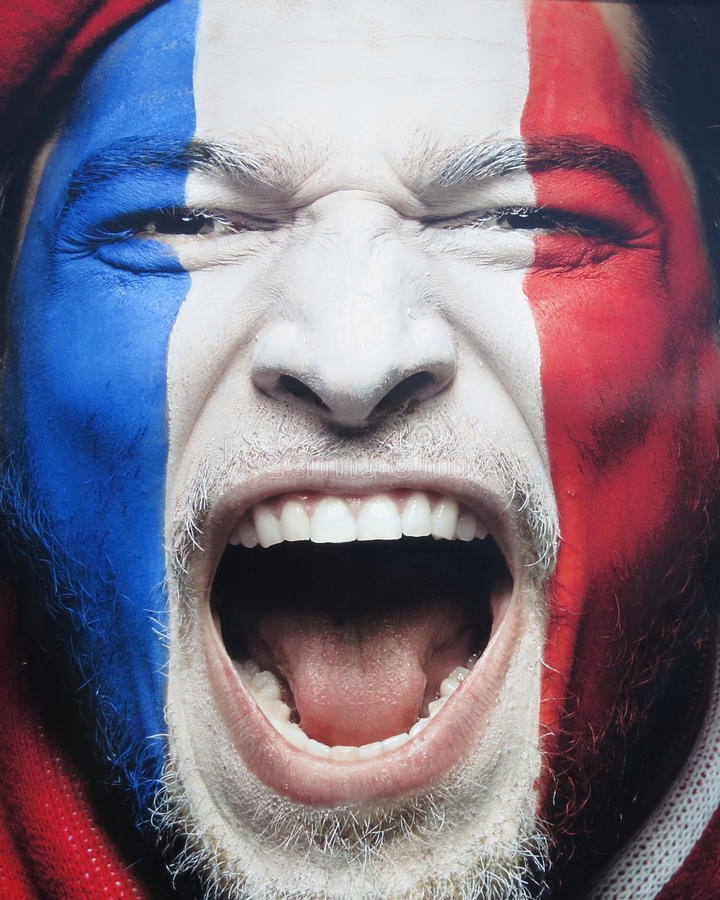 Éventez avec le drapeau français peint sur son visage - photo courante image stock