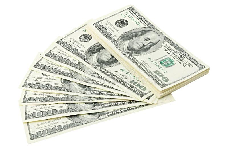 Éventez et empilez l'argent américain cent billets d'un dollar d'isolement sur le chemin de coupure blanc de fond Billet de banqu photos stock