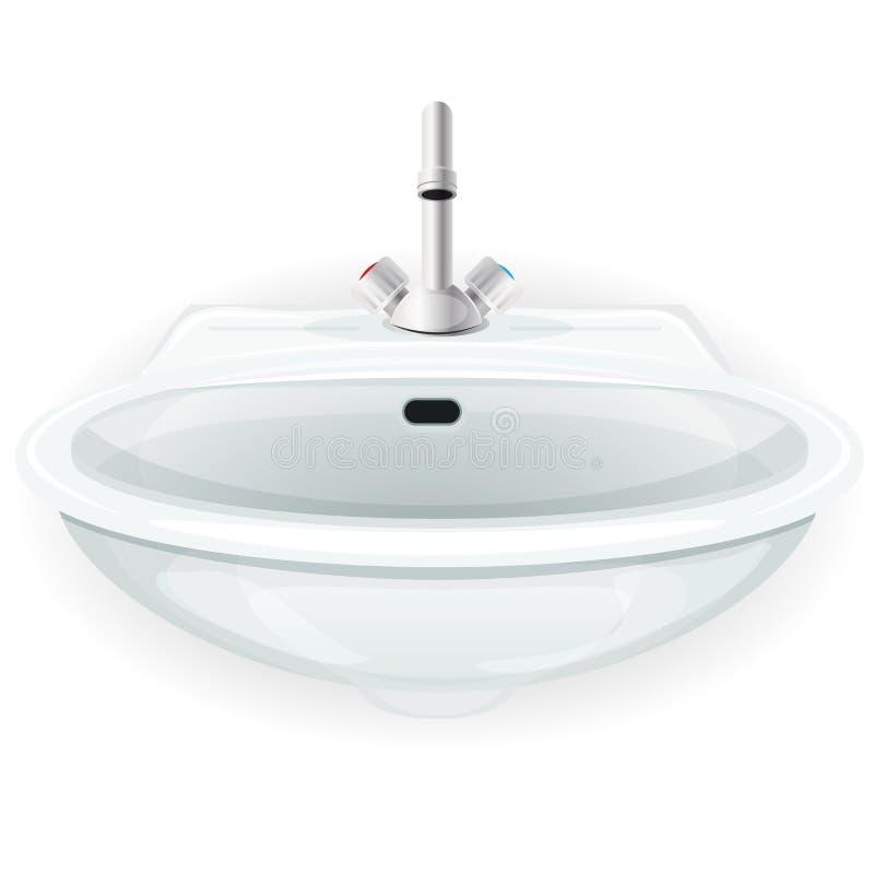 Évier de salle de bains avec le robinet illustration libre de droits