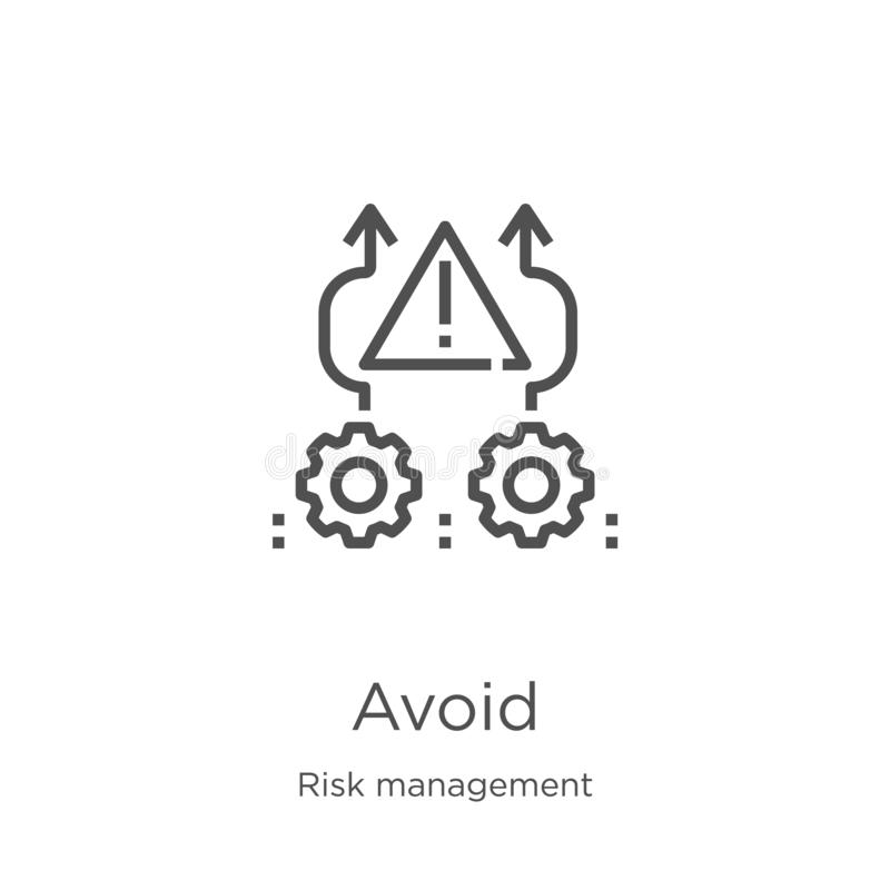 évitez le vecteur d'icône de la collection de gestion des risques La ligne mince évitent l'illustration de vecteur d'icône d'ense illustration de vecteur
